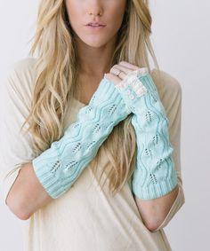 Love this Mint Lace Fingerless Gloves - Women on #zulily! #zulilyfinds