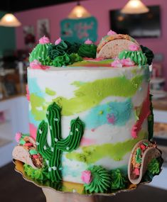 Cactus and Taco Watercolor Cake - Gebäck - This cactus and taco cake was one of our Friday Cake Giveaways! You are in the right place about cac - Cupcakes, Cupcake Cakes, Beautiful Cakes, Amazing Cakes, Pastel Mickey, Taco Cake, Fiesta Cake, Cactus Cake, Watercolor Cake