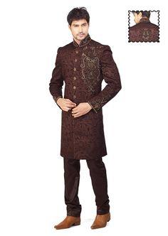 Coffee Brown Imported Brocade Sherwani Online Shopping: MCD916