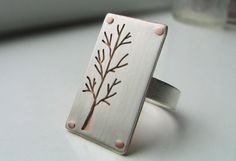 Lone Tree ring, sterling & copper.  Handmade jewelry