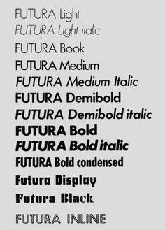 Diversas variaciones de la tipografía Futura. Paul Renner. 1926-1927