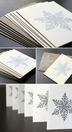 , Giveaway: Block Printed Snowflake Cards , These block-printed snowflake Christmas cards are understated but festively pretty. Homemade Christmas Cards, Christmas Crafts, Handmade Christmas, Christmas Cookies, Christmas Ideas, Xmas Cards, Holiday Cards, Snowflake Cards, Christmas Makes