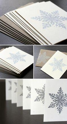 Giveaway: Block Printed Snowflake Cards