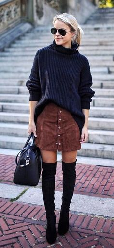 #winter #outfits women's black knit sweater and brown suede button up skirt outfit