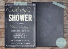 Dusty Chalkboard Baby Shower Invitation