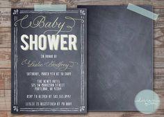 Dusty Chalkboard Baby Shower Invitation