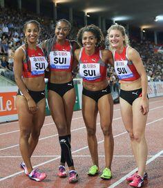 Swiss team Salomé Kora, Sarah Atcho, M… Diamond League, Lausanne, Ubs, Bikinis, Swimwear, Athlete, Running, Fashion, Bathing Suits