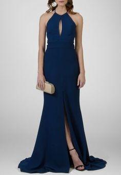 Vestido longo azul marinho frente única e cauda Marcelo Quadros - powerlook