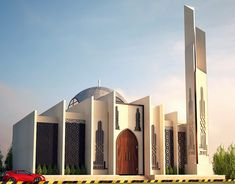 Mosque Design on Behance Concept Board Architecture, Amazing Architecture, Modern Architecture, Mosque Architecture, Architecture Student, Building Facade, Building Design, Roof Design, Exterior Design