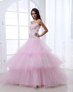 Tulle Tiered Applique Ruffled Pink Princess Prom Gowns