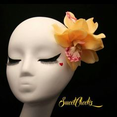 "52 Likes, 4 Comments - My Pinup Shop (@mz.sweetcheekz) on Instagram: ""Pretty sunshine yellow orchid hair clip  Light pink and orange will be available soon in this…"""