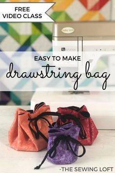 Create beautiful drawstrings with the Bias Binder accessory foot. Free video class with drawstring jewelry bag instructions from The Sewing Loft. Easy Sewing Patterns, Bag Patterns To Sew, Sewing Tutorials, Sewing Basics, Sewing For Beginners, Baby Lock Sewing Machine, Sewing Projects For Kids, Orange Bag, Simple Bags