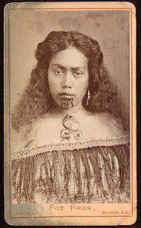 Foy Brothers, Thames, Young Maori Woman with Moko Wearing Korowai Cloak and Hei Tiki, c. 1872-86, Albumen carte-de-visite photograph