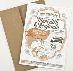 illustrated plane wedding invitation