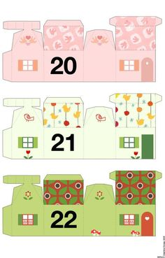 Tiny paper house ornaments to print out and cut. Advent Calendar House, Calendar Home, Countdown Calendar, Diy Paper, Paper Crafts, Advent Calenders, House Ornaments, Theme Noel, Paper Houses