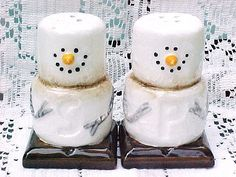 marshmallow snowmen #saltandpeppershakers