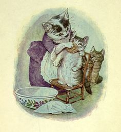 1907 Beatrix Potter illustration from NYPL Mid-Manhattan Picture Collection showing a feline mother doing what moms do: taking care of their babies (in this case, Tom Kitten). Beatrix Potter Illustrations, Beatrice Potter, Peter Rabbit And Friends, Vintage Cat, Children's Book Illustration, Book Illustrations, Cat Art, Illustrators, Fairy Tales