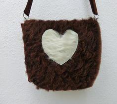KUHIE, Kuhfelltasche braun + Herz, Trachtentasche von Gmischtesach: The bag with the cow. auf DaWanda.com