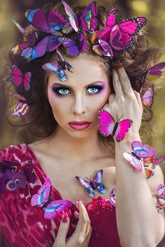 """The attraction of many butterflies to one source of an area, which is being the woman in the image. It can represent Miranda in the novel """"The Collector"""". Most people connect the colour pink with beauty. This can show how there is infinite beauty in Miranda as Clegg envisions her."""