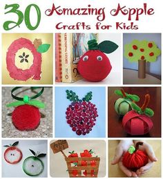 30 Apple Crafts for Kids - These creative apple projects can be used for learning or just plain fun!(http://aboutfamilycrafts.com/30-apple-crafts-for-kids/)