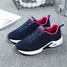 Discount Up to 2018 Autumn Sneakers Women Breathable Mesh Running Shoes Damping Sport Shoes Woman Outdoor Blue Walking zapatos de mujer betis Summer Sneakers, Sneakers Nike, Sneakers Women, Sneaker Games, Outdoor Woman, Sock Shoes, Women's Shoes, Workout Wear, Types Of Shoes