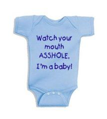 ea0a63055 Watch your mouth, I'm a baby! Onesie – Light Blue with Navy Blue Decal –  Newborn