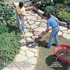 How to Build a Stone Path: Build this simple path with sand, stone and lots of muscle Read more: www.familyhandyma… How to Build a Stone Path: Bu Stone Garden Paths, Garden Stones, Stone Paths, Stone Pillars, Flagstone Walkway, Walkways, Driveways, How To Lay Flagstone, Paver Sand