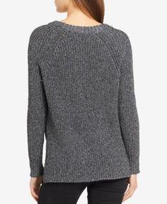 Calvin Klein Jeans High-Low Metallic-Detail Sweater - Black XS