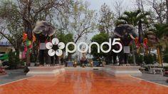 Thai Temple Elephant Statues Buddhist Religious Monument Worship Buddhism - Stock Footage | by RyanJonesFilms