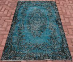 Vintage Turquoise rug Turkish Oushak Rug Primitive Tappeto Teppich Unique Designed Handmade Rug Turquoise Green Color decor rug 203 x 115 cm by VinArtStore on Etsy https://www.etsy.com/listing/458164752/vintage-turquoise-rug-turkish-oushak-rug