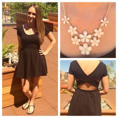 Love this cute simple sundress from #forever21 necklace #forever21 sandals #oldnavy #statementnecklace #summertimefine #vegas #fashion #simplechic #cute #properpinkfashion #follow #followme