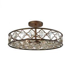 Armand 8 Light Semi Flush In Weathered Bronze Wi : 31093/8 | Brechers Lighting