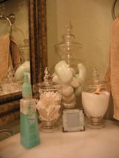 Apothecary jars for guest bathroom decor!
