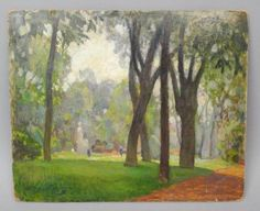 Early-20c-Nikolai-Becker-Oil-Painting-France-Wooded-Park-Landscape-Signed