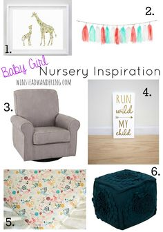 Nursery inspiration, including direct links, for a baby boy or baby girl.