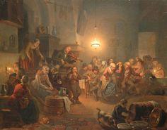 Grootvelt J.H. van | Het winnende danspaar, olieverf op paneel 47,5 x 60,0 cm, gesigneerd r.o. en verso en gedateerd 1842 recto en verso