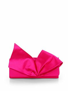 Christian Louboutin - Satin Bow Clutch - Saks Fifth Avenue Mobile Bow Clutch, Tote Purse, Tote Handbags, Satin Bows, Pink Satin, Christian Louboutin, Baby Spice, Beautiful Handbags, Evening Bags