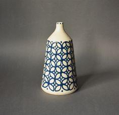 Vintage STUDIO Pottery Vase Patterned White and Blue. €32,00, via Etsy.