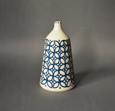 Vintage STUDIO Pottery Vase Patterned White and Blue. €32,00, via Etsy.