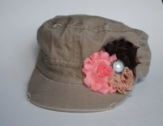 028670dd840 Khaki Military Style Cadet Hat   interchangeable Shabby Rose flower by  HandpickedbyHeather