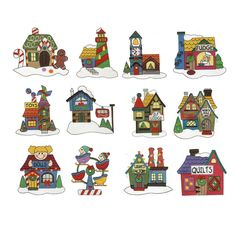 North Pole village machine embroidery designs filled stitch just like santas village embroidery designs.