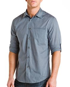 John Varvatos Blue Heather Check Slim Fit Woven Shirt  ShirtMen #Shirts
