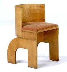 GERALD SUMMERS Barrel-back birch veneer side chair with velvet-upholstered seat. x x from Rago Arts & Auction Center Kids Furniture, Furniture Design, Plywood Chair, Mid Century Design, Furniture Inspiration, Chair Design, Side Chairs, Decoration, Interior Design