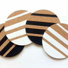 Hand Painted Cork Coasters - Set of 4 Cork Crafts, Diy And Crafts, Arts And Crafts, Wooden Coasters, Cork Coasters, Black Coasters, Sous Bock, Ideias Diy, Coaster Set