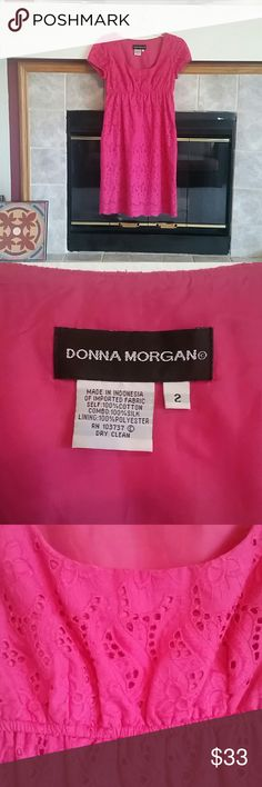 Donna Morgan Hot Pink Eyelet Party Dress Embroidered Lined Sheath Eyelet Dress size 2 Donna Morgan Dresses Asymmetrical