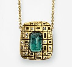 Alex Sepkus 18kt Gold pendant with diamonds & Green Tourmaline