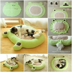 30 brilliant pet bed diy ideas with tutorialsWith a few redundant cloths and some handwork, you can make a soft spot for your lovely cats or dogs to lie on. Please continue to read the full tutorial. DIY Soft Dog or Cat Bed I want to see if I can mak Cat Crafts, Animal Crafts, Cat Pillow, Animal Projects, Diy Projects, Diy Stuffed Animals, Pet Clothes, Dog Clothing, Cat Toys