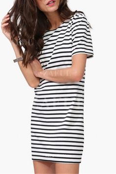 Stripes Round Collar Short Sleeve Dress WHITE AND BLACK: Casual Dresses | ZAFUL