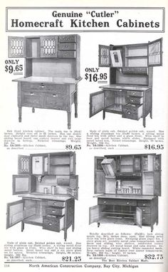 Homecraft kitchen cabinets from the Aladdin 1916 furnishing catalog.