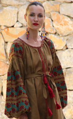 Rustic Olive Vita Kin style Vyshyvanka linen blouse Burgundy Teal embroidery. size XS-XXL VB0054-003